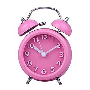 YESURPRISE Réveil matin Enfant Quartz Lumineux Alarme Clock Silencieux Pure couleur Rose