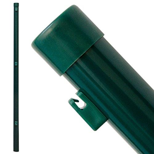 *NIEDERBERG METALL Zaunpfosten 100 cm Zaunpfahl Ø 34 mm Metall-Pfosten mit Spanndrahthaltern Pfahl Pfosten für Maschendraht Zaun für Einschlag-Bodenhülsen Grün*