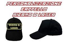 Idea Regalo - Cappello Nero da Baseball Ricamato con Logo o Scritta Personalizzata. Testo