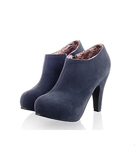 GRRONG Frühling Und Herbst Seite Des Reißverschlusses Gestrüpp Wasserdichte Plattform High-Heel Damen Einzigen Stiefel Schuh,Blue-34