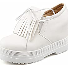 ZQ gyht Zapatos de mujer - Plataforma - Cuñas / Creepers / Punta Redonda - Mocasines - Exterior - Semicuero - Negro / Rosa / Blanco , pink-us10.5 / eu42 / uk8.5 / cn43 , pink-us10.5 / eu42 / uk8.5 / cn43