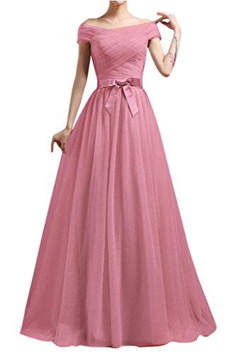 Charmant Damen Einfach kurzarm Tuell Brautjungfernkleider Abendkleider  Promkleider Lang Alinie Neu Dunkel Rosa