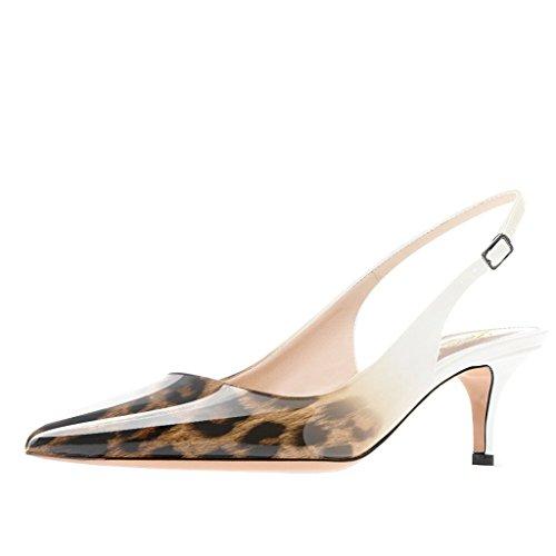Lutalica Frauen Kitten Heel Spitze Patent Slingback Kleid Pumps Schuhe für Party Patent Weiß-Leopard Größe 37 EU Sexy High Heels Oxford-schuh