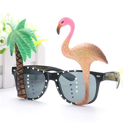 WWVAVA Party Brille Lustige dekorative Flamingo Beach Party Miami Style Kostüme Sonnenbrillen Glitter Beach Brillen Event Party Supplies Dekoration, Gold