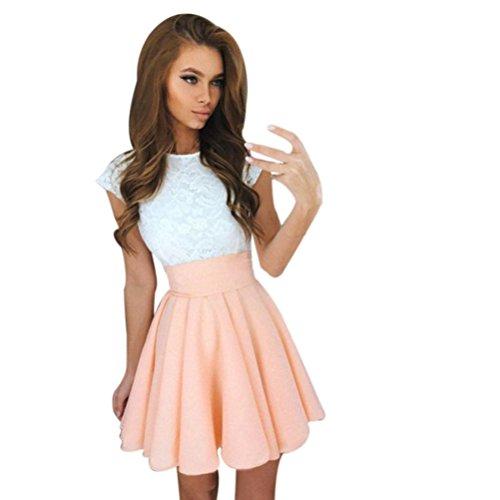 feiXIANG Damen spitzen party Mini kleid aus Spitze mit kurzen Ärmeln damen  kleider sommer Rock (L, Khaki) 9422055979