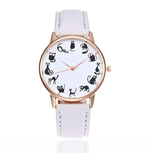 Souarts Damen Armbanduhr Einfach stil 12 Katze Retro Analoge Quarz Uhr mit Batterie Weiß