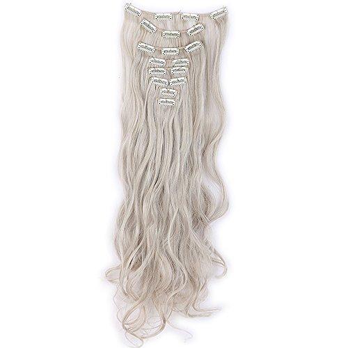 Extension clip biondo chiaro mix grigio argento capelli sintetici mossi lunghi 24 pollici 60cm full head hair extension 8 ciocche