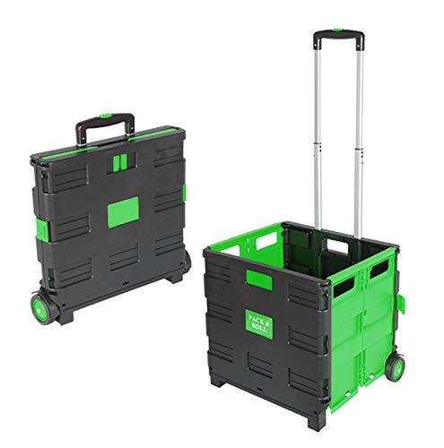 Einkaufstrolley Grün Einkaufswagen bis 35kg Transport Trolley Klappbar Transportwagen Klappbox Shopping Shopper Trolley Faltbox Aluminium Kunststoff