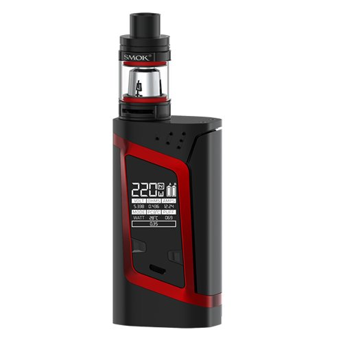 220 Kit (Smok Alien Kit - 220w Temperature Controlled Mod with 2ml TFV8 Baby Tank - 100% Authentic from Premier Vaping (Black/Red) …)