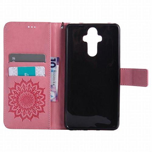 LEMORRY Huawei Mate 9 Custodia Pelle Cuoio Flip Portafoglio Borsa Sottile Bumper Protettivo Magnetico Morbido Silicone TPU Cover Custodia per Huawei Mate 9, Fiorire Viola Rosa