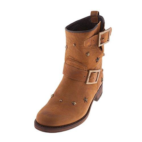 SANCHO Boots VS11035 originale, da donna, in pelle, colore: Marrone chiaro, Marrone (Tenné), 36
