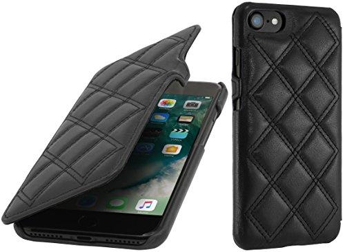 StilGut Book Type Case con clip, custodia in pelle cover per iPhone 7 (4,7) Chiusura a libro Flip-Case in vera pelle, Blu Scuro Nappa Nero Nappa - Carato