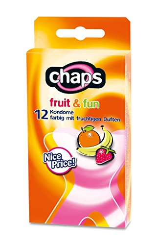 Kondome chaps fruit & fun, 24 Stück, bunter Kondom-Mix, Made in Germany (Banane Aromatisierte Kondome)