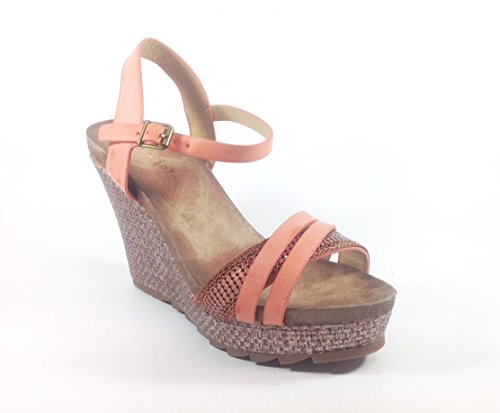 Scarpe donna sandali con zeppa in ecopelle JB176 Salmone