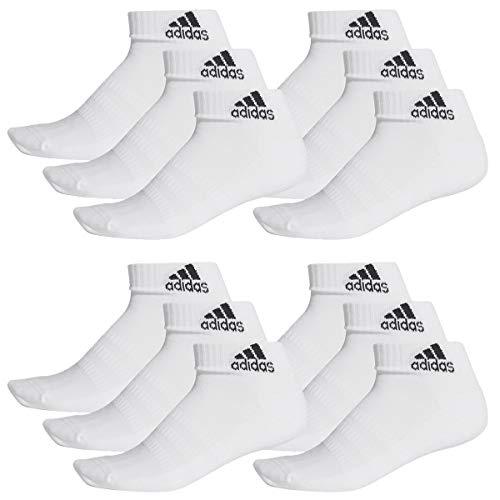 adidas 12 Paar Performance Sneaker/Quarter Socken Unisex Kurzsocke, Farbe:White, Socken & Strümpfe:43-45