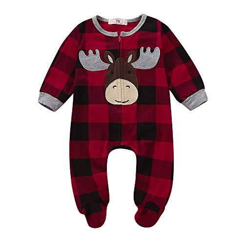 Yanhoo Infant Baby Jungen Weihnachtsmann Stickerei-Hirsch Strampelanzug Jumpsuit Herbst Winter Langarm Solide Baumwolle Kapuzenpullover Overall Outfits Kleidung 6~24Monate