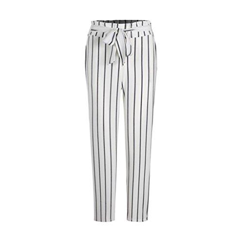 UFACE Damen Damenmode Bow Süße Gestreifte Kurz Hosen Gestreifte Lange Jeans Tie Hohe Taille Damen Hosen Hosen(Weiß,L/(40))