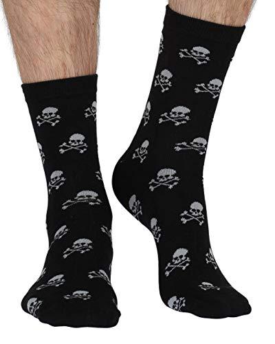 Braintree Herren Socken mit Piraten-Design, Schwarz, aus Bambus