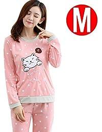 (Inicio Primavera y Otoño Invierno Coreano Dulce Leche Seda Confort Dot Cat Pijamas