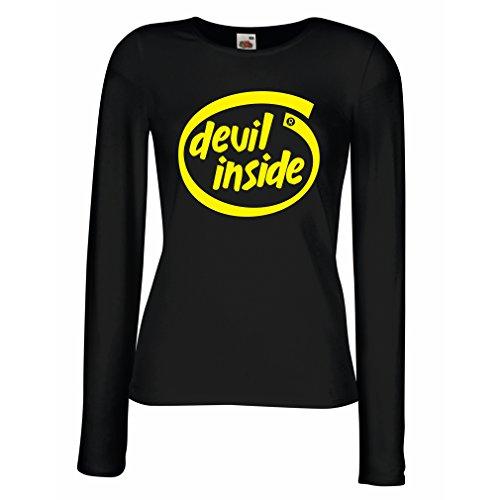 Camisetas de Manga Larga para Mujer Devil Inside: Regalo Genial para el Jugador, Lema Divertido, Material de Juego (X-Large Negro Amarillo)