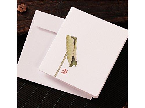 Suprerhoung biglietti d'auguri con buste biglietti d'auguri in bianco carte cinesi classiche stampa floreale vintage (foglia di loto)