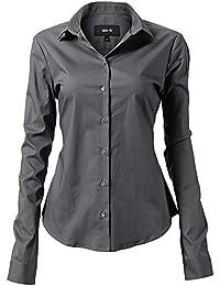 INFLATION Damen Hemd mit Knöpfen Baumwolle Bluse Langarmshirt Figurbetonte Hemdbluse Business Oberteil Arbeithemden 11 Farben
