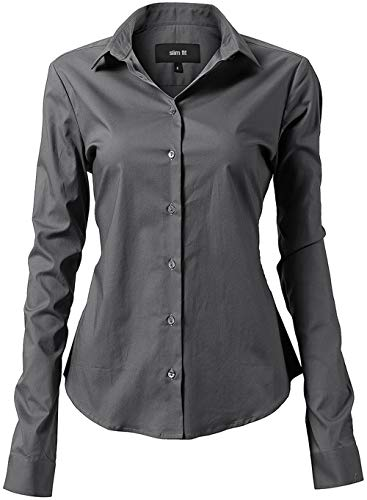 INFLATION Damen Hemd mit Knöpfen Baumwolle Bluse Langarmshirt Figurbetonte Hemdbluse Business Oberteil Arbeithemden Grau 46/22