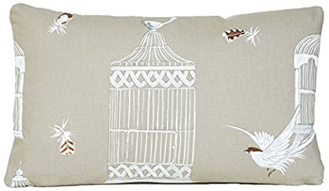 Bird Cage Cushion Cover Toffee Oblong Pillow Throw Case Bagatelle Cotton by Vintage look
