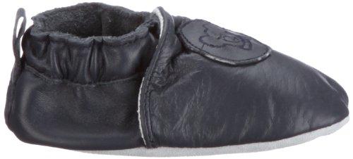Playshoes Leder-Slipper uni 101770, Chaussures basses mixte enfant Bleu-TR-K-41