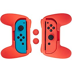 1 de AmazonBasics - Kit de empuñaduras para mandos Joy-Con de Nintendo Switch - Rojo