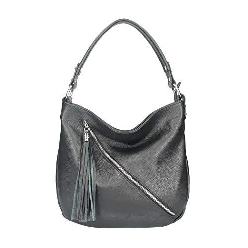Made in Italy Damen Leder Tasche Shopper Schultertasche City Bag Crossover Umhängetasche Henkeltasche Ledertasche Damentasche Fransen Schwarz