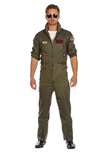 MIMIKRY Deluxe Piloten-Overall Jetpilot Kostüm aus Baumwolle inkl. Brille FÜR Grosse Herren Flieger Pilotenkostüm Kampfpilot, Größe:Lang - L