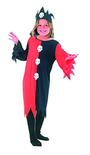 Jungen Mädchen Halloween Schädel Clown Kinder Kostüm Alter 4-12 Jahre (Small (Age 4-6 Years), Schwarz Rot) (Halloween-kostüme 5-yr Mädchen Alten)