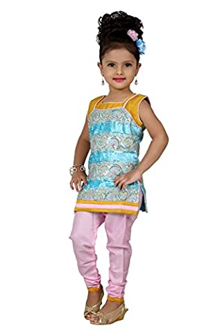 Baby Girl Salwar Suit New Born Infant Frock Suit Churidar Dress Wedding Prom Partywear Top Shirt+Leggings Toddler Ethnic Traditional Dupatta Suit - TURQOISE & BABY PINK - 0-6 months (BGWC-515_TURQ)