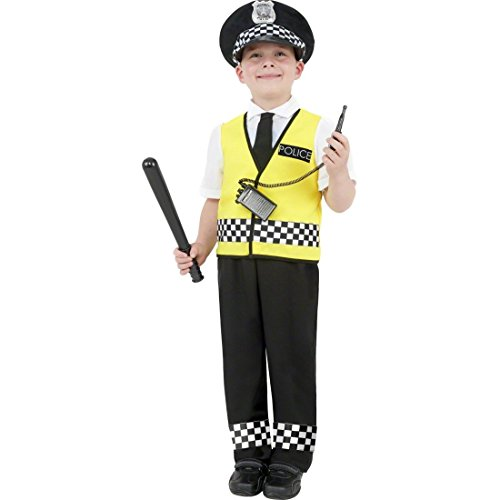 Wachmann Kinder Kostüm - NET TOYS Kinder Polizei Kostüm Polizeikostüm gelb schwarz S 128 cm Polizist Kostüm Polizistenkostüm Kinderkostüm Wachtmeister Wachmann Detektiv
