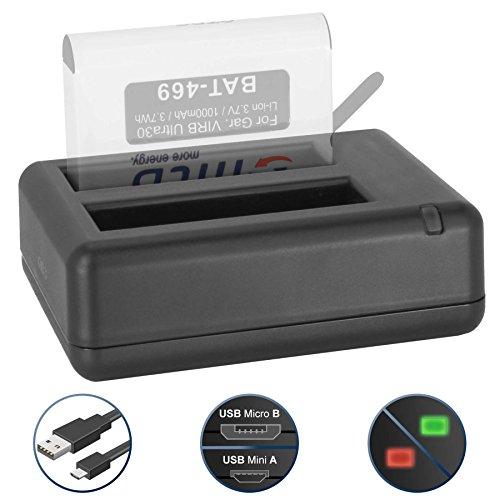 Dual-Ladegerät (USB) für Garmin Virb Ultra 30 Action Cam - inkl. Micro-USB-Kabel (2 Akkus gleichzeitig ladbar)