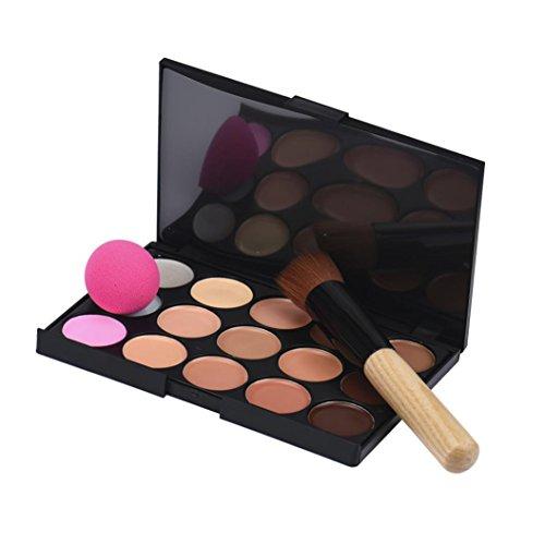 Toamen Outils de maquillage, 15 couleurs Maquillage Concealer Palette de contour + Bouffée d'éponge d'eau + Pinceau de maquillage