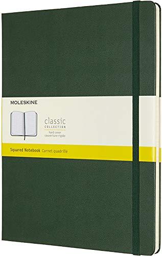 Moleskine Klassisches Kariertes Notizbuch (Hardcover mit Elastischem Verschlussband, Größe A4 19 x 25, 192 Seiten) myrte grün