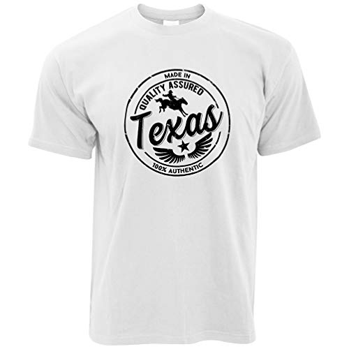 Austin Weißes T-shirt (Heimatstadt Stolz T-Shirt Made in Texas Stamp White Large)