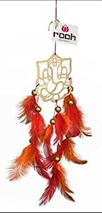 Rooh Ganesh Brass Dream Catcher (7 cm x 0.5 cm x 12 cm, Orange)