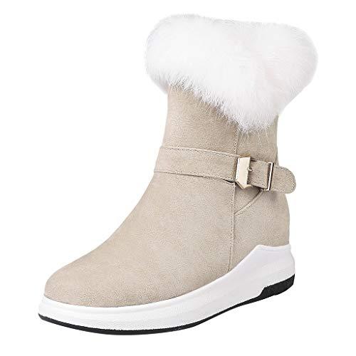 ┃BYEEEt┃ Donna Invernali Stivali da Neve Moda Scamosciato Snow Boots Caviglia Caldo Felpa Peluche Stivaletti All'aperto Scarpe Donna in Camoscio di Coto