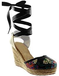 Yuncai Moda Ricamo Piattaforma Zeppa Sandali Elegante Casuale Sandali da Spiaggia per Donna Nero 33 rYyayTe