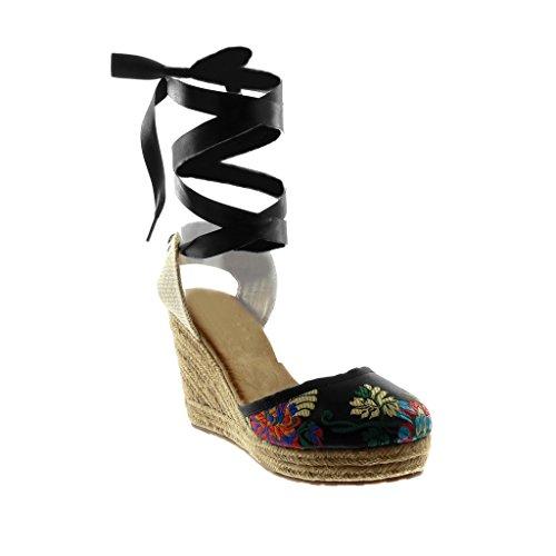 Angkorly - Damen Schuhe Sandalen Espadrilles - Hohe - Plateauschuhe - Schnürsenkel aus Satin - Blumen - Bestickt Keilabsatz high Heel 10 cm - Schwarz F04 T 38