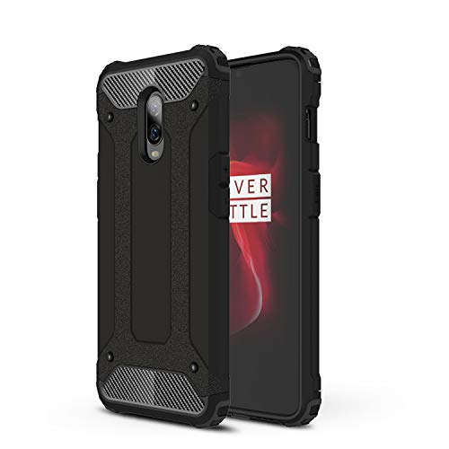 AOBOK Coque Oneplus 6T, Noir Élégant Etui Robuste Hybride Armure Hull Couverture, Anti-Scratch, Housse pour Oneplus 6T Smartphone