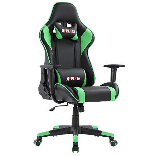 XPELKYS Gaming Stuhl PC Racing Gaming Sessel Bürostuhl Schreibtischstuhl mit Verstellbaren Rückenlehnen (Grün)
