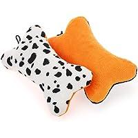 chiwava 2pcs 5.1Squeak Toy Colorful diseño de lunares hueso de perro sonido Puppy Fetch Play ambos lados