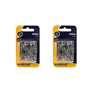 Korbond 100 Safety Pins (x2 Packs of 50) Assorted Sizes (5cm, 3.5cm & 2.5cm) for Pinning, Fastening, securing Clothing, Crafting and Household use, Tempered Steel