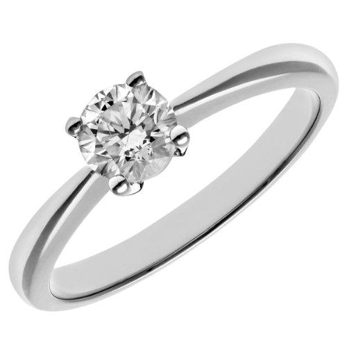 Naava Women's Round Brilliant 0.50 ct Diamond Platinum Solitaire Engagement Ring, IJ/I Certified - Size N