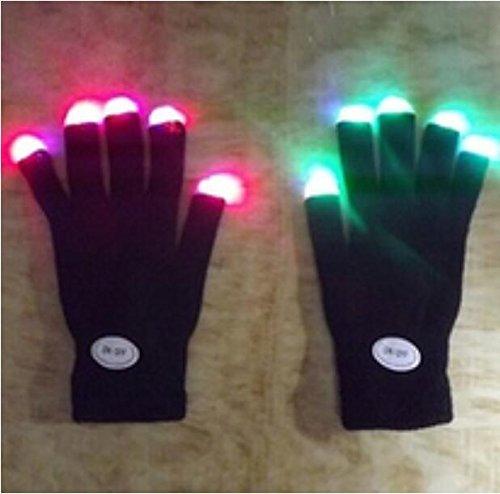 (xinyiwei Luminous LED-Handschuhe Rave Licht blinkt Finger Lighting Glow Fäustlinge–Schwarz)