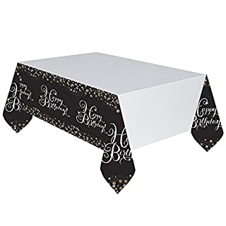 Amscan 9900549 1.37 m x 2 m Gold Celebration Happy Birthday Plastic Table Cover